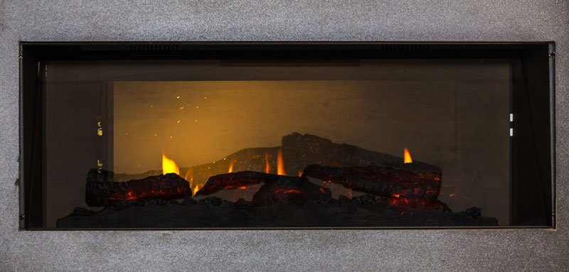 Electric fireplace roaring