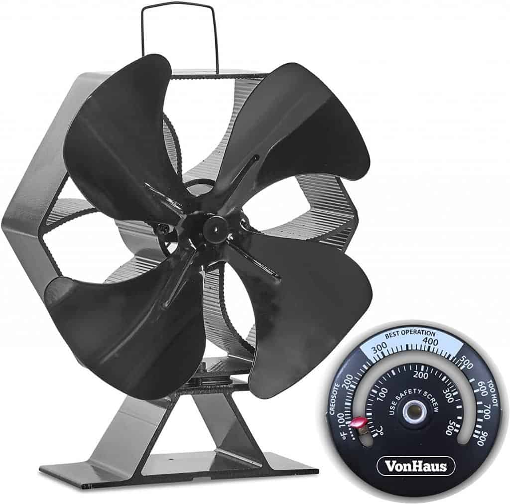 VonHaus 6-Blade Twin Motor Double Heat Powered Wood Stove Fan